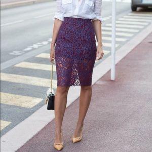 Zara Purple Lace Midi Skirt